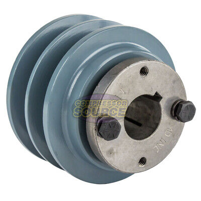 Cast Iron 3.35 2 Groove Dual Belt B Section 5l Pulley With 1 Sheave Bushing