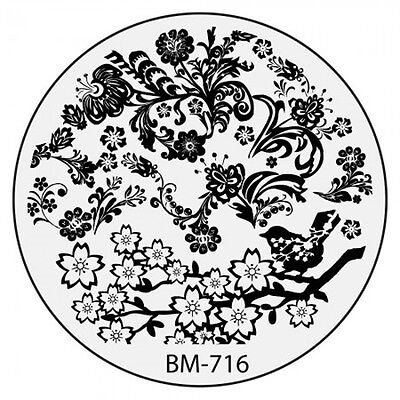 Bundle Monster Stamping Schablone Plate BM-716 Nailart Flower Tribal