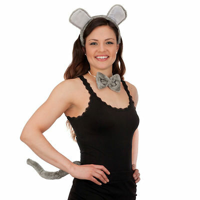 PLUSH GREY MOUSE COSTUME ACCESSORY SET KIT EARS HEADBAND TAIL BOW TIE GRAY - Mouse Tail Costume