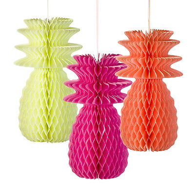 3 x Paper Honeycomb Pineapple (Hanging) Party Table Decorations Tropical Colours](Fluro Party Decorations)