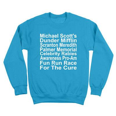 The Rabies Awareness Run Office Dunder Mifflin Aqua Crewneck (Awareness Sweatshirt)