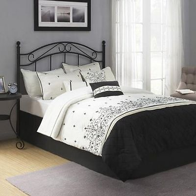 Traditional Metal Black Headboard Full Queen Size Bed Bedroom Frame