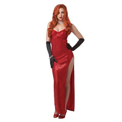 Jessica Rabbit Damen Kostüm Rote Pailletten Silber Display Sinsation Erwachsener ()
