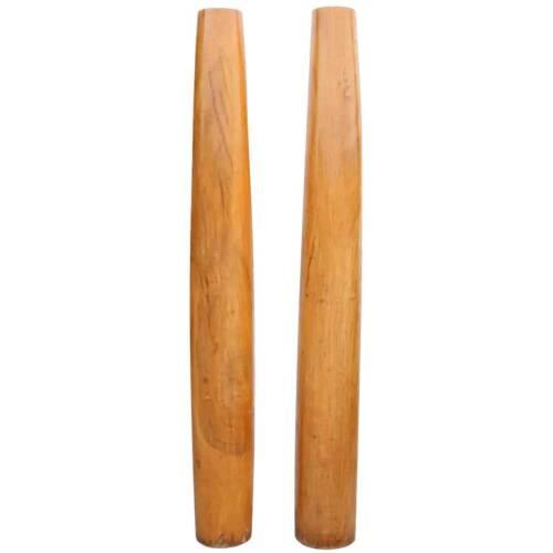 Rare Antique Pair of Solid Satinwood Architectural Columns 19th century