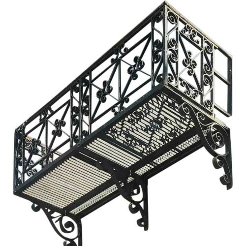 Complete Antique American Beaux Arts Acacia Hotel Wrought Iron Balcony 1907 87""