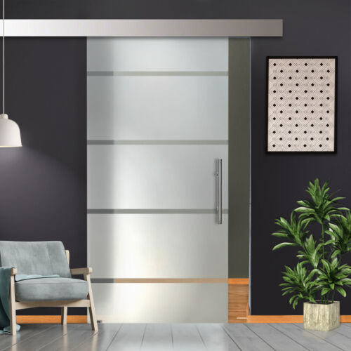 """36"""" x 84"""" Sliding Glass Barn Door with frosted design Semi-Private 30% OFF"""