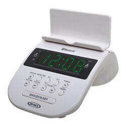 JENSEN JCR-295-W Bluetooth Clock Radio with Cellphone Holder White