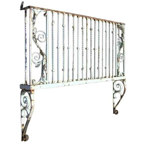 Antique French Heavy Wrought Iron Painted Juliet Balcony c. 1800