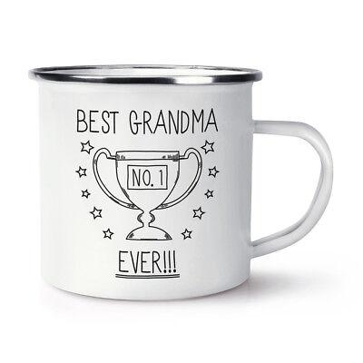 Best Grandma Ever No.1 Trophy Retro Enamel Mug Cup - Funny Favourite
