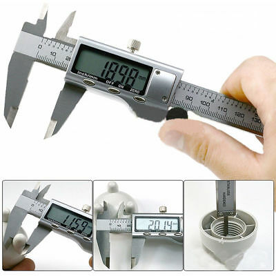 6 150mm Electronic Digital Stainless Steel Vernier Caliper Micrometer Guage Lcd