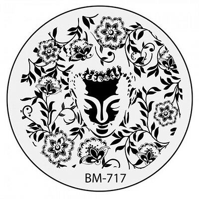 Bundle Monster Stamping Schablone Plate BM-717 Nailart Flower Tribal