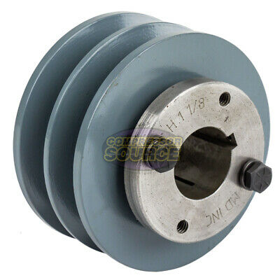 Cast Iron 3.75 2 Groove Dual Belt B Section 5l Pulley And 1-18 Sheave Bushing