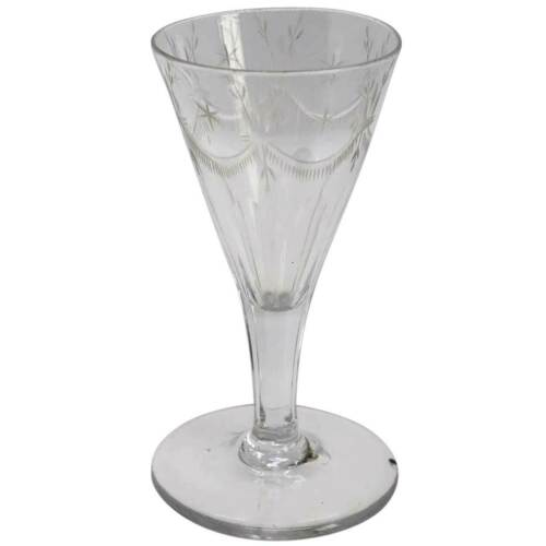 Antique English Georgian Engraved Petal Cut Drinking Glass c. 1790