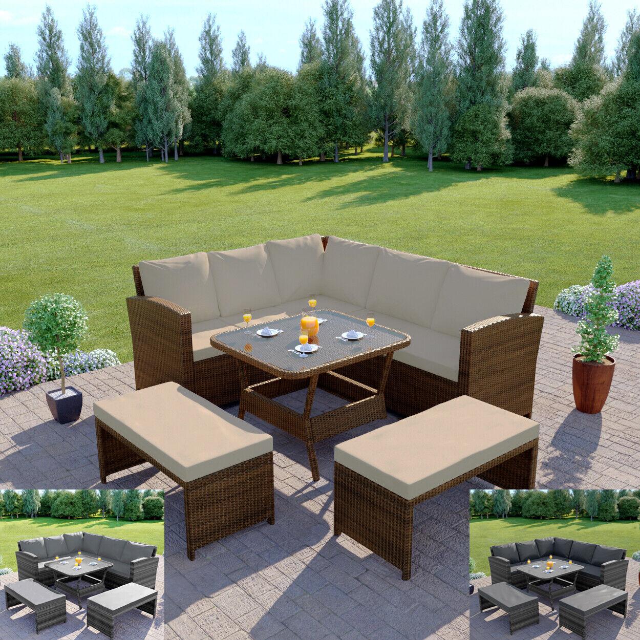 Garden Furniture - Rattan Garden Furniture Corner Dining Table Sofa Patio Set Bench Grey Brown