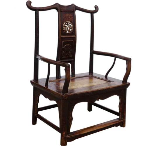 Antique Chinese Qing Lacquered Elm Low Armchair 19th century