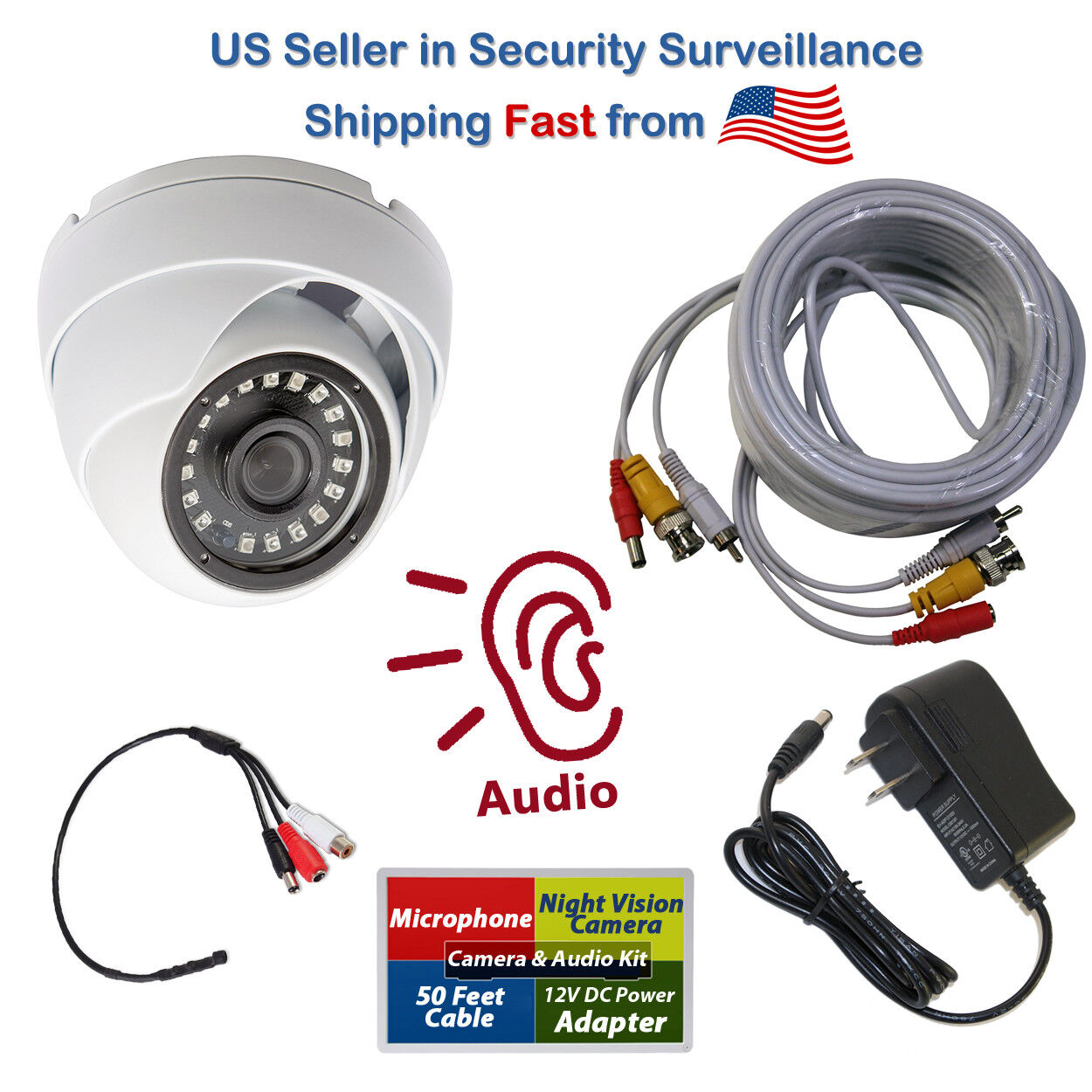 1080p CCTV Security Camera with Microphone Audio Video DC Po