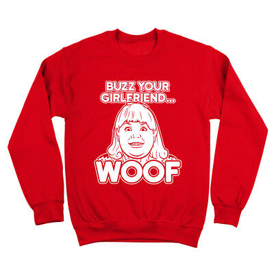 Buzz Your Girlfriend Woof  Home Alone Filthy Animal Red Crewneck Sweatshirt - Buzz Home Alone