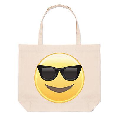 Sonnenbrille Emoji Groß Strand Tragetasche - Smiley Lustig Shopper Schulter (Große Lustige Sonnenbrille)