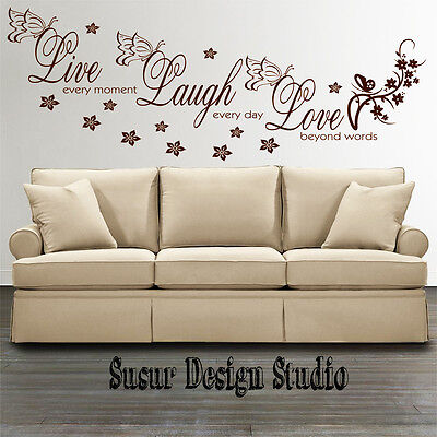 Wall Stickers Quotes Live Laugh Love Room Decal Wall Art Mural Transfer SVIL10