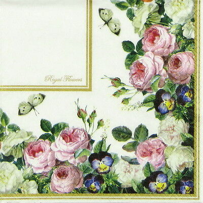 4x  Paper Napkins for Decoupage Craft - Vintage Royal Flower