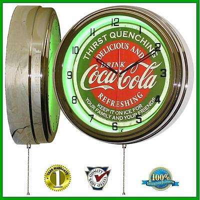 "16"" Coca Cola * Thirst Quenching * Green Neon Advertising Clock Green Wall Decor"