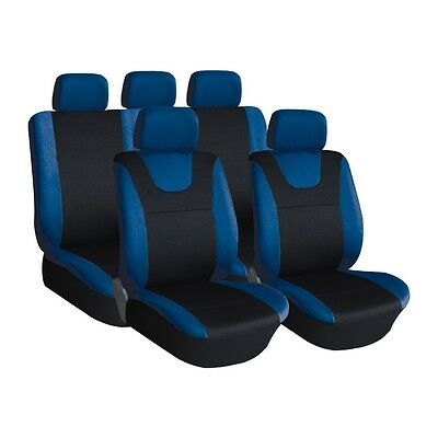 Blue and Black, Prestige, Car Seat Covers, Front & Rear: Plush Velour (8 Piece)