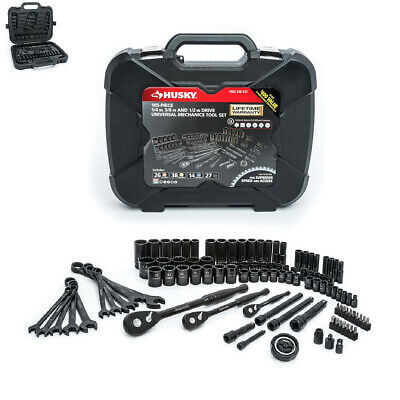 Husky Mechanics Tool Set 100-Position Rachet Blow-Mold Case Black (105-Piece) - Molded Tool Case