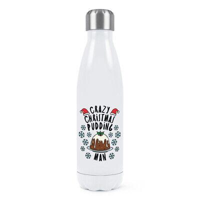 Loco Pudín Navidad Hombre Copos de Nieve Doble Pared Agua Botella Santa...
