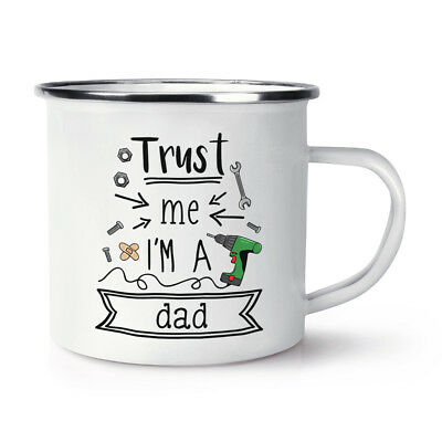 Trust Me I'M A Papa Retro Emaille Becher Tasse - Lustig Vatertag Liebe