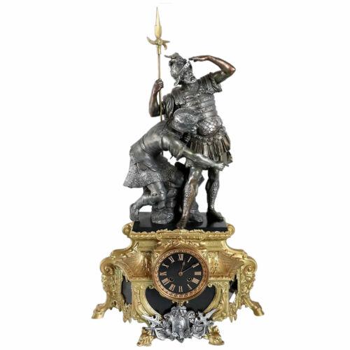 Large Antique French Spelter, Gilt Metal & Black Slate Figural Mantel Clock c. 1