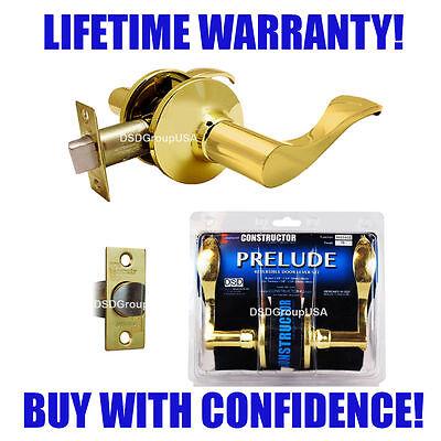 (Constructor Prelude Passage Lever Handle Hallway Closet Door Lock Polished Brass)