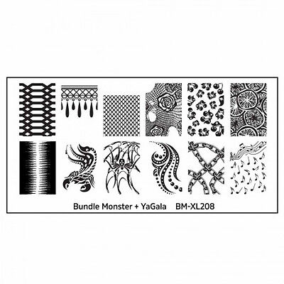 Bundle Monster XL Stamping Schablone Plate BM-XL-208 Nailart Ornament Tribal