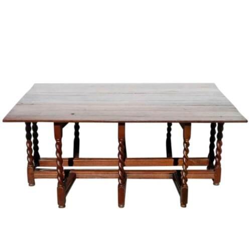 Antique Large English William & Mary Oak Drop-Leaf Gateleg Dining Table c. 1690