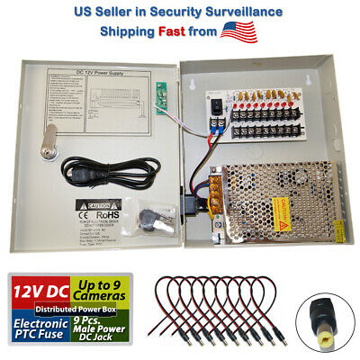 8 CH Channel Power Supply Box CCTV Camera 9 Port 12V + Free 10 Pigtail Dc Jack Cctv Dc Power Pigtail