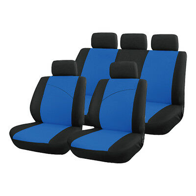 Blue and Black, Front & Rear Car Seat Covers: Soft Plush Velour (8 Piece)