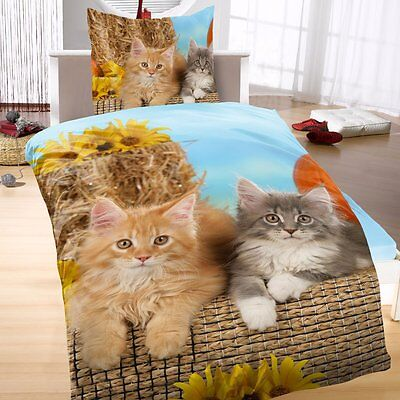 Katzen Bettwäsche 2tlg. Katzenbabys blau 135x200 cm (80x80 cm)