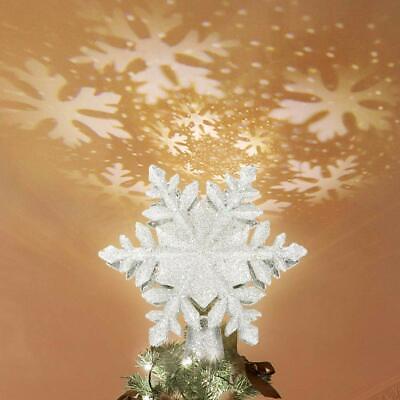 Weihnachtsbaumspitze Stern, Christbaumspitze Topper LED Projektor, Schneeflocke