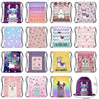 1pc Fashion Cute Llama Non-woven Drawstring Bags Backpack Gym Tote Bag Sport Bag Non Woven Drawstring Bag