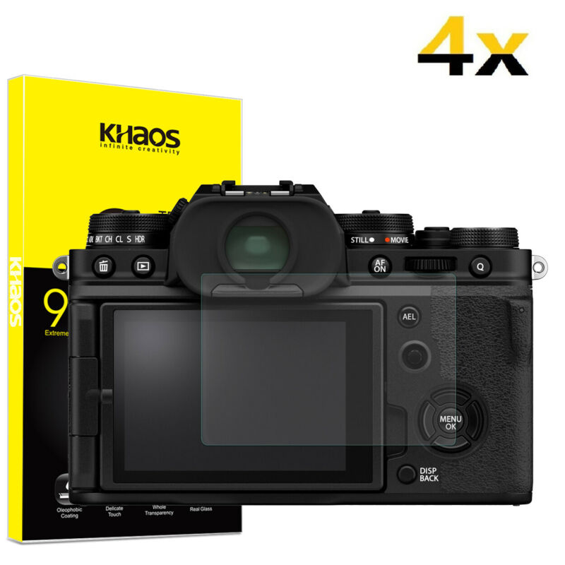 4-Pack Khaos For Fujifilm X-T4 X100V X-PRO3 Tempered Glass Screen Protector