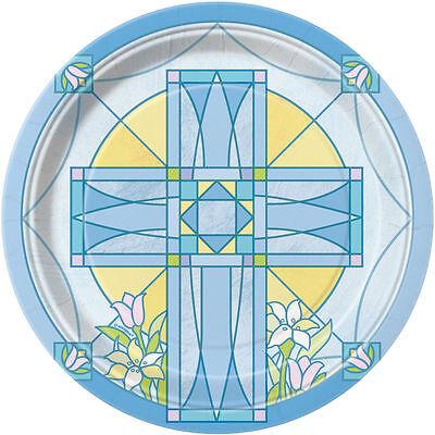 Christening Paper Plates (8 x Sacred Blue Cross Paper Plates Christening Confirmation)