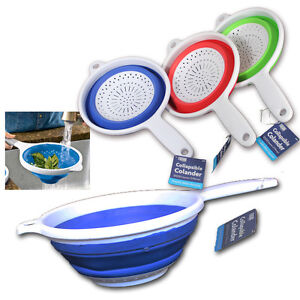 SILICONE COLLAPSIBLE COLANDER HANDLE FRUIT VEGETABLE COOKING STRAINER COLLANDER