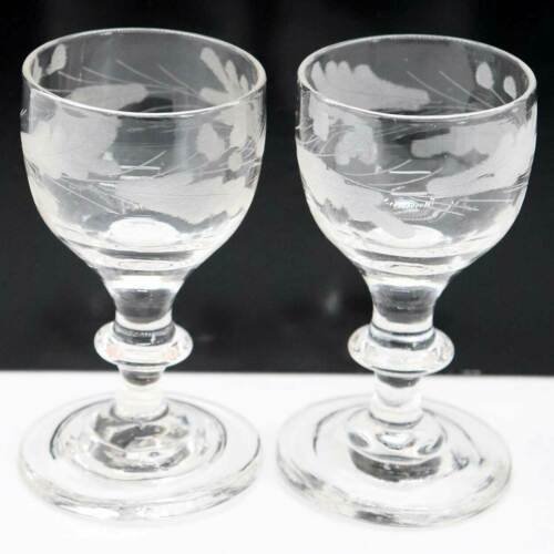 Pair Antique English Georgian Oak Leaf Etched Drinking Glasses c. 1780
