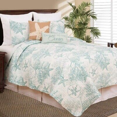 Coastal Quilt Set Queen Reversible Bedding Cover All Season Sea Side Blue White ()