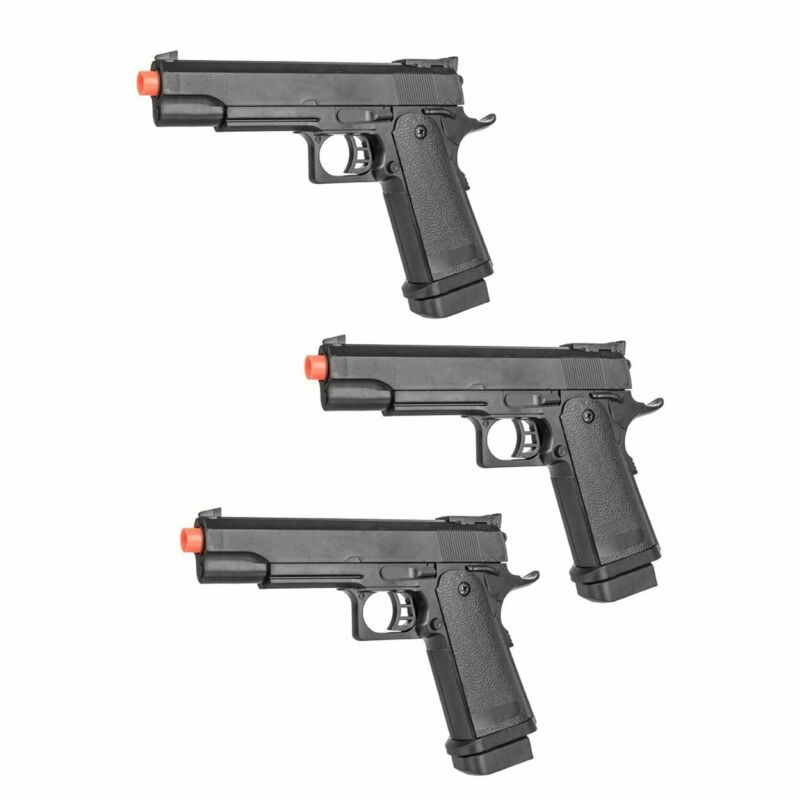 Lot of 3: Spring Powered Tactical Airsoft Pistol + 6mm BBs + Detachable Magazine