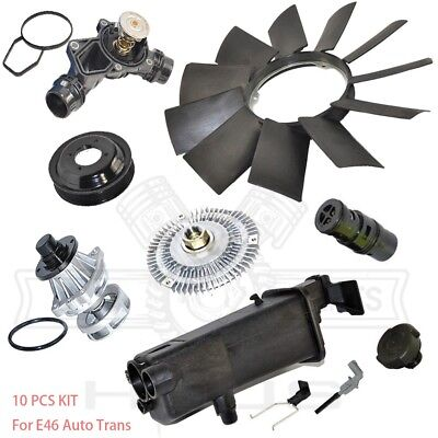 Water Pump Fan Clutch Blade Pulley Expansion Tank Thermostat Cap Sensor Kit E46