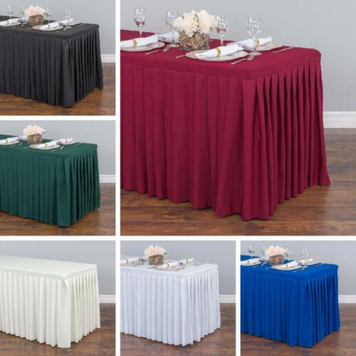 4/ 6/ 8 ft. Fitted Poly Table Skirt for Banquet Table Wedding Event Catering