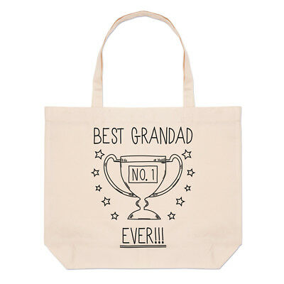 Best Grandad Ever No.1 Trophy Large Beach Tote Bag - Funny (Best Beach Bag Ever)