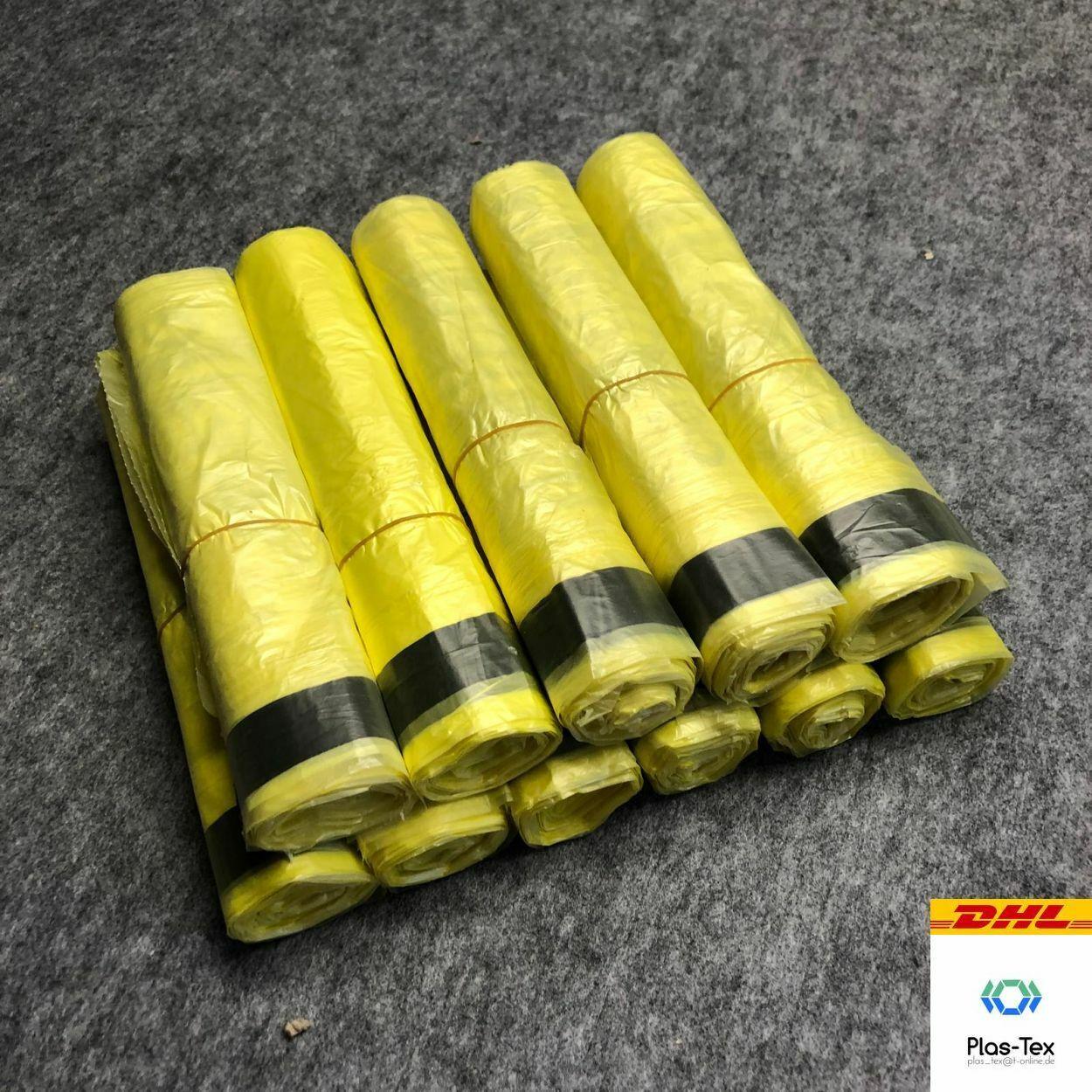 Gelber Sack Müllbeutel Gelbe Säcke Müllsack mit Zugband - bis 100 Rollen