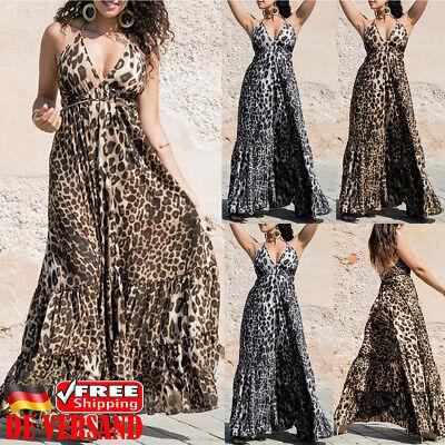 DE Damen Leopard Maxikleid Sommerkleid V-Neck Träger Sexy Langkleid Strandkleid - Neu Sexy Leopard
