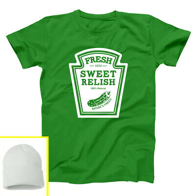 Hat Relish Costume Set Funny Group Halloween Outfit Green Basic Men's T-Shirt